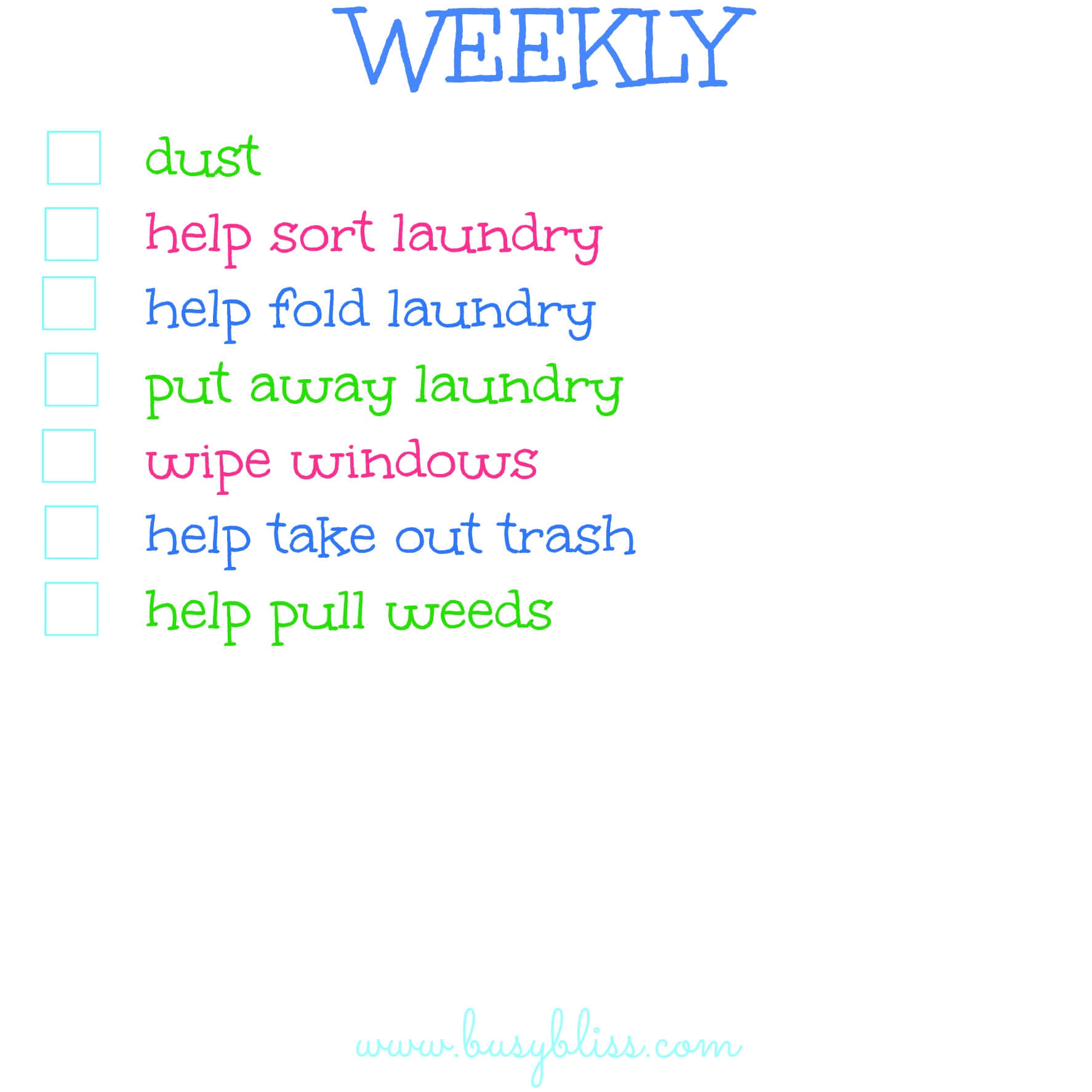 list of chores to do