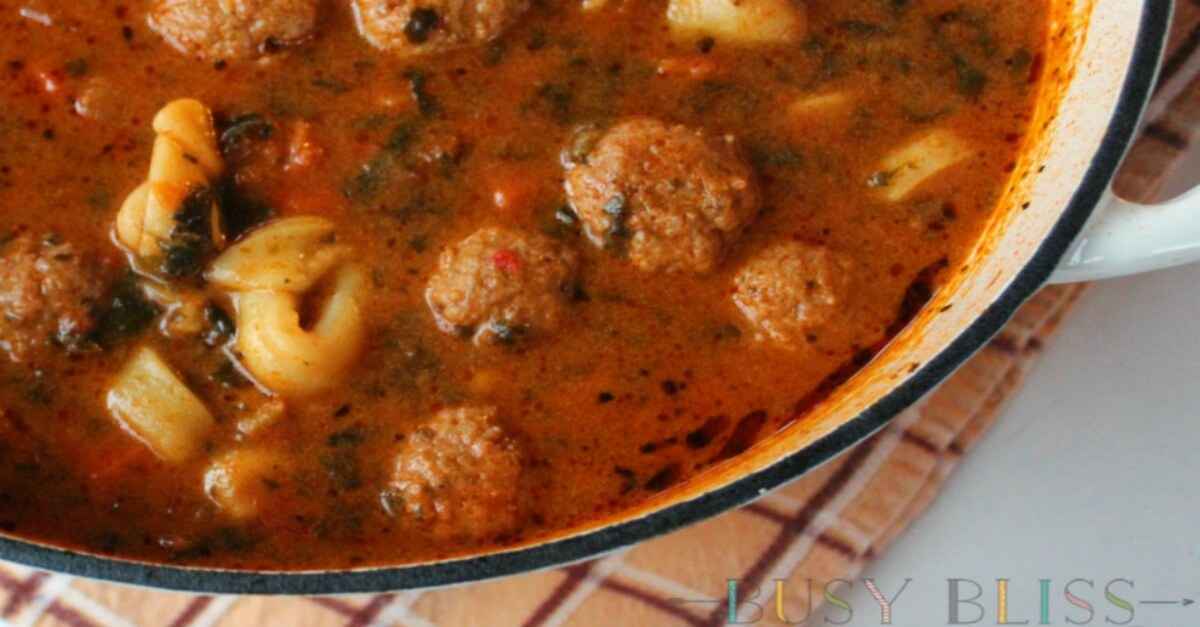 Meatball Tortellini Soup Slow Cooker Or Stove Top Busy